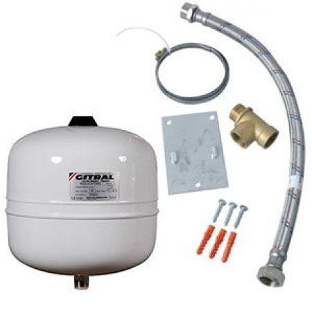 Pack Hydrochaud, 1 vase sanitaire 12 litres + kit d'installation