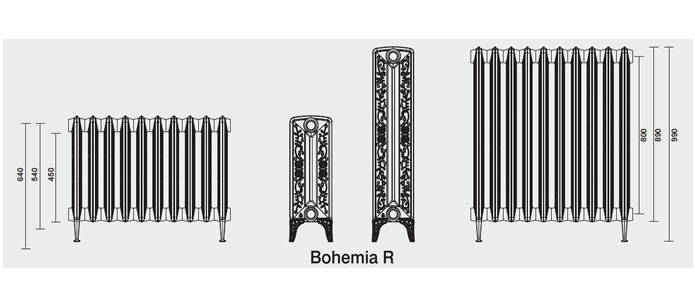 radiateur en fonte bohemia r 800 220 avec pied. Black Bedroom Furniture Sets. Home Design Ideas